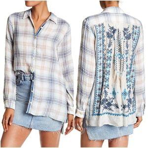 Johnny Was, Mya Pleated Silk Back Smock Shirt XL